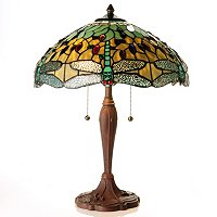 LOUIS COMFORT TIFFANY INSPIRED HANGING HEAD DRAGONFLY TABLE LAMP