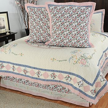 430-322 - North Shore™ Collectible Quilts ''Josie'' Euro Sham Pair & Bed Skirt Set