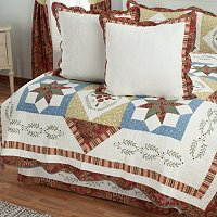 """Star Sampler"" Euro Sham Pair and Bed Skirt Set"