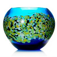 "FAVRILE ART GLASS 8""X6.75"" POPPY FIELD VASE"