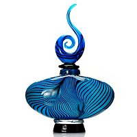 "FAVRILE ART GLASS 8.75""X13"" BLUE SPIDER WEB PURFUME BOTTLE"
