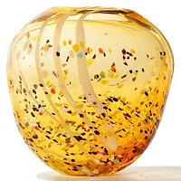 "FAVRILE ART GLASS 10.25""X11"" AMBER SPECKLE VASE"