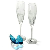 WATERFORD CRYSTAL BUTTERFLY FLUTE PAIR W/ AQUA BUTTERFLY