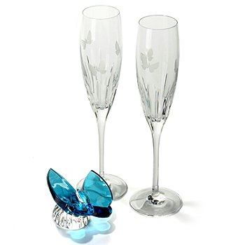 430-860 - Waterford® Crystal Three-Piece Signed Butterfly Figurine & Toasting Flutes