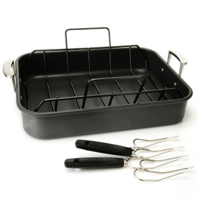 430-896 - Sur La Table Hard Anodized Nonstick Roasting Pan w/ Rack & Lifters