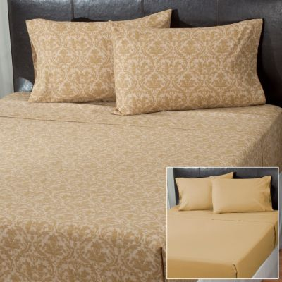 "431-022 - Cozelle® ""Damask"" Microfiber Set of Two Four-Piece Sheet Sets"