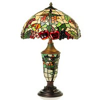 Fruitage Stained Glass Double Lit Table Lamp