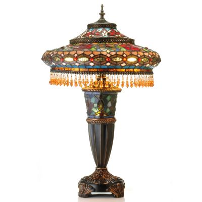 "431-065 - Tiffany-Style 27.5"" Parisian Stained Glass Double-Lit Table Lamp"