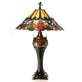431-068 - Tiffany-Style 30'' Carnival Rose Double-Lit Stained Glass Table Lamp