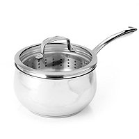 Macy's Belgique Stainless Steel 3 Quart Triple Decker Saucepan w/ Lid & Steamer