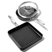 "Macy's Belgique Hard Anodized 10"" Covered Fry Pan and 11"" Square Grill Pan"