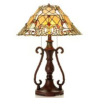 BRAIDED LAUREL STAINED GLASS TABLE LAMP
