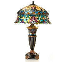 DARIEN DOUBLE LIT STAINED GLASS TABLE LAMP