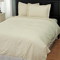 North Shore Linens 600TC Egyptian Cotton Damask Stripe Three-Piece Duvet Set