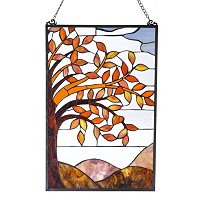 Autumn Leaves Stained Glass Panel