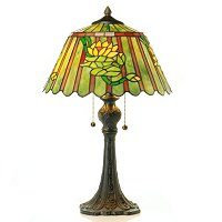 Egyptian Water Lily Stained Glass Table Lamp