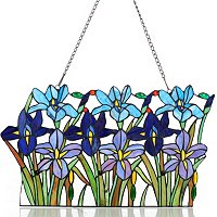 Field of Irises Stained Glass Panel