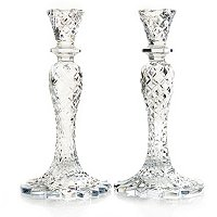 "WATERFORD CRYSTAL SEA JEWEL 10"" CANDLESTICK PAIR"