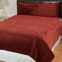 Velvet Quilted 3pc Coverlet Set
