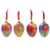 WATERFORD SET OF FOUR BEADED LACE SEASONAL EGGS