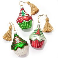 MARQUIS BY WATERFORD SET OF THREE CHRISTMAS CUPCAKE ORNAMENTS