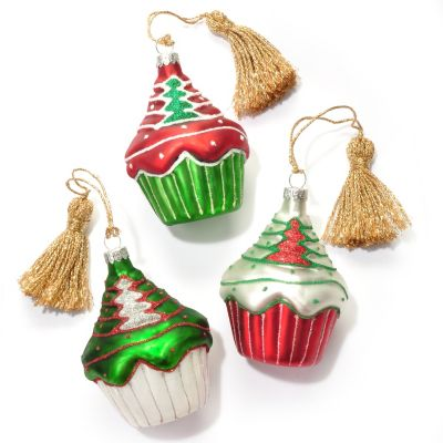 "431-551 - Marquis® by Waterford® Set of Three 3.5"" Blown Glass Cupcake Ornaments"