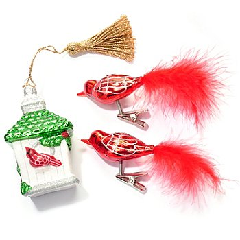 431-552 - Marquis® by Waterford® Three-Piece Birdhouse & Birds Ornament Set