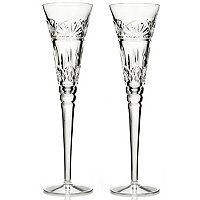 WATERFORD CRYSTAL LISMORE TOASTING FLUTE PAIR - SIGNED BY JOL