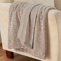 "Allie Textured 50"" x 70"" Oversized Faux Fur Throw"