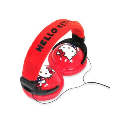 431-659 - Hello Kitty® Foldable Red & Black Plush Headphones