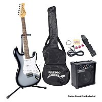 Pyle Beginner Electric Guitar Package- Grey Silver