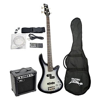 431-719 - Pyle Professional Electric Bass Guitar Bundle w/ Amplifier, Gig Bag and Strap