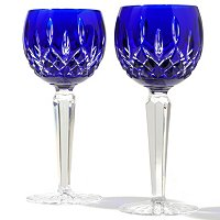 WATERFORD CRYSTAL LISMORE COBALT DRINKWARE PAIR