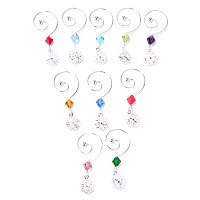 WATERFORD CRYSTAL SNOWFLAKE WISHES WINE CHARMS SET OF 10