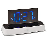 ivee flex voice controlled talking alarm clock radio-white