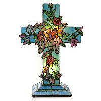 TIFFANY STYLE VINES BLOOMING CROSS ACCENT LAMP