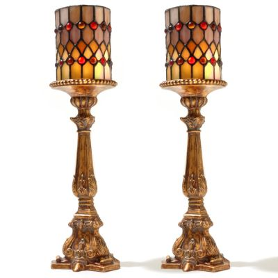 "431-800 - Tiffany-Style Set of Two 17.25"" Flameless Candle Holders"