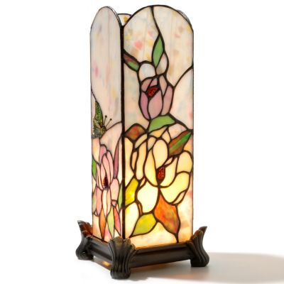 "431-819 - Tiffany-Style 13"" Butterfly Rosette Stained Glass Accent Lamp"