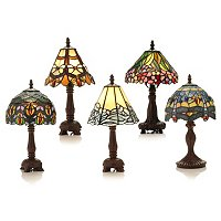 SET OF 5 MINI TIFFANY STYLE TABLE LAMPS