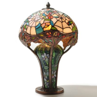 "431-825 - Tiffany-Style 19"" Cobweb Stained Glass Table Lamp"