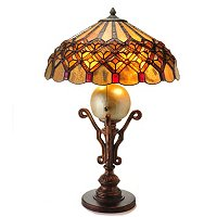 TIFFANY STYLE BORDEAUX DIAMOND TABLE LAMP