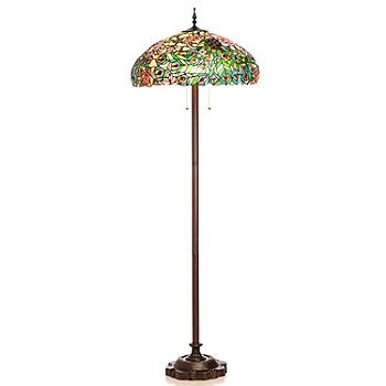 431-828 - Tiffany-Style 64'' Peacock Veil Stained Glass Floor Lamp