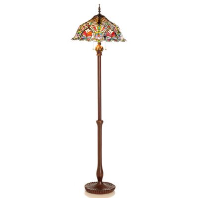 "431-829 - Tiffany-Style 63"" Baroque Stained Glass Floor Lamp"