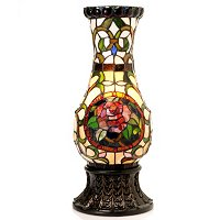 TIFFANY STYLE SILVIA ROSE VASE LAMP