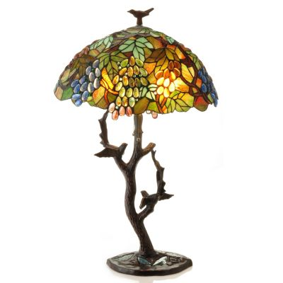 "431-833 - Tiffany-Style 34"" Sparrow's Haven Stained Glass Table Lamp"