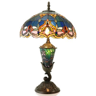 "431-837 - Tiffany-Style 27.5"" Rippled Jeweled Stained Glass Double Lit Table Lamp"