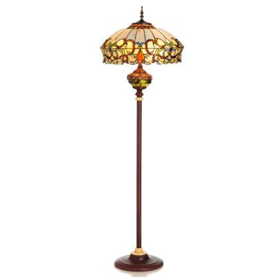 "431-839 - Tiffany-Style 63"" Baroque Double Lit Stained Glass Floor Lamp"