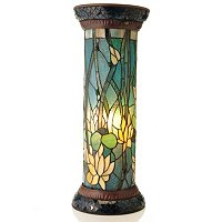 TIFFANY STYLE GRAND LOTUS LIT PEDESTAL