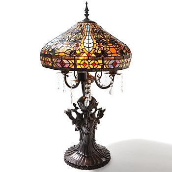 431-844 - Tiffany-Style 33'' Crystal Gregorea Stained Glass Table Lamp