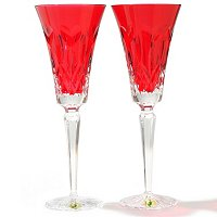 WATERFORD CRYSTAL I LOVE LISMORE RED TOASTING FLUTES